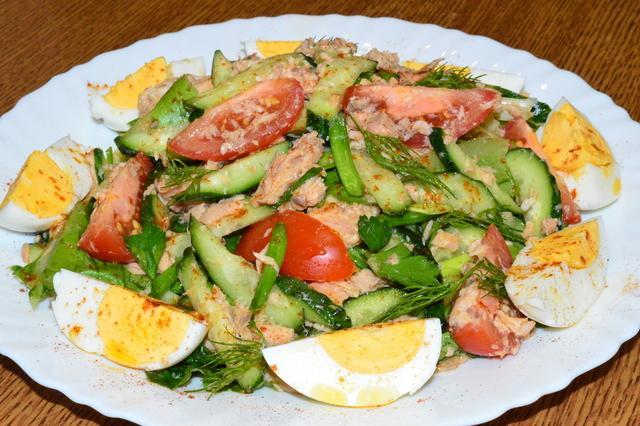 Лёгкий салатик с рыбой – пошаговый рецепт с фотографиями