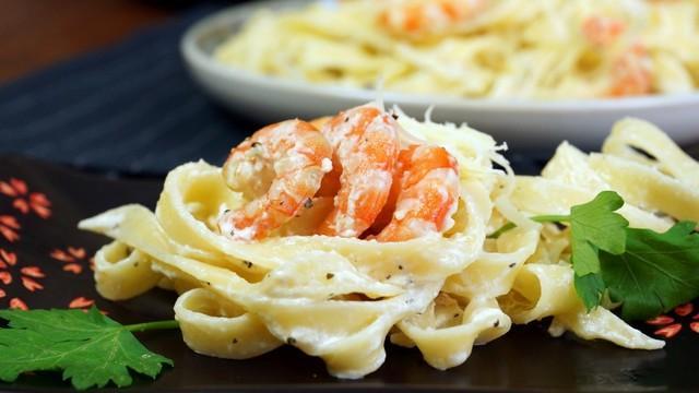 Паста в сливочном соусе с креветками – пошаговый рецепт с фотографиями