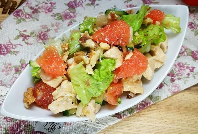 Салат с куриным филе и грейпфрутом – пошаговый рецепт с фотографиями