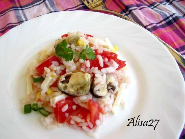 Летний салатик с мидиями,рисом и помидорами – пошаговый рецепт с фотографиями