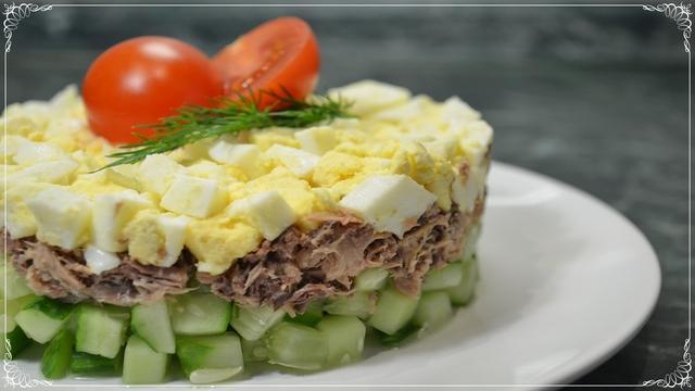 Салат с тунцом и огурцом за 15 минут! – пошаговый рецепт с фотографиями