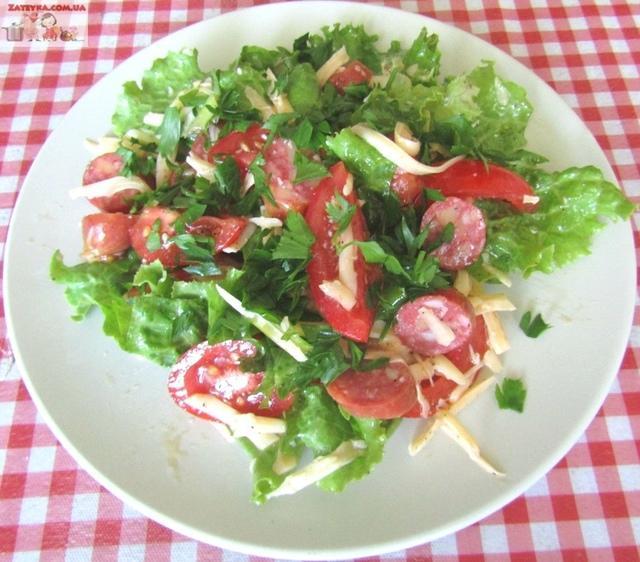 Салат с сыром и охотничьими колбасками – пошаговый рецепт с фотографиями