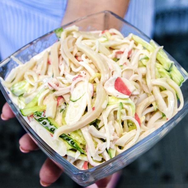 Салат с кальмаром – пошаговый рецепт с фотографиями