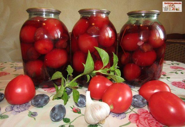 Маринованные помидоры со сливами – пошаговый рецепт с фотографиями