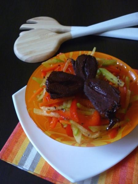 Овощной салат с сердечками индейки терияки – пошаговый рецепт с фотографиями
