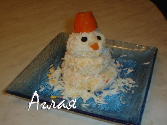 Салат снеговик – пошаговый рецепт с фотографиями