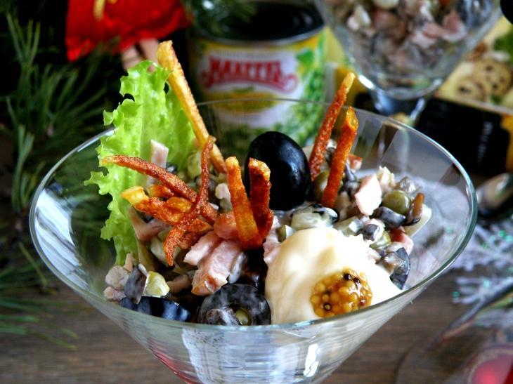Салат-коктейль с ветчиной, грибами и горошком. – пошаговый рецепт с фотографиями