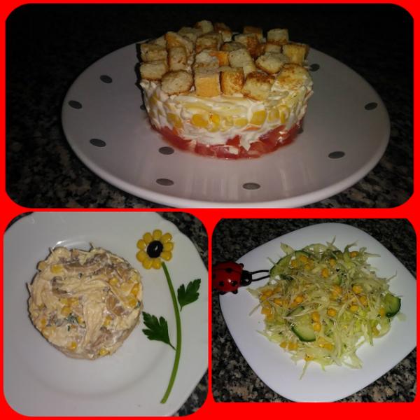 Три быстрых и вкусных салата с кукурузой. – пошаговый рецепт с фотографиями
