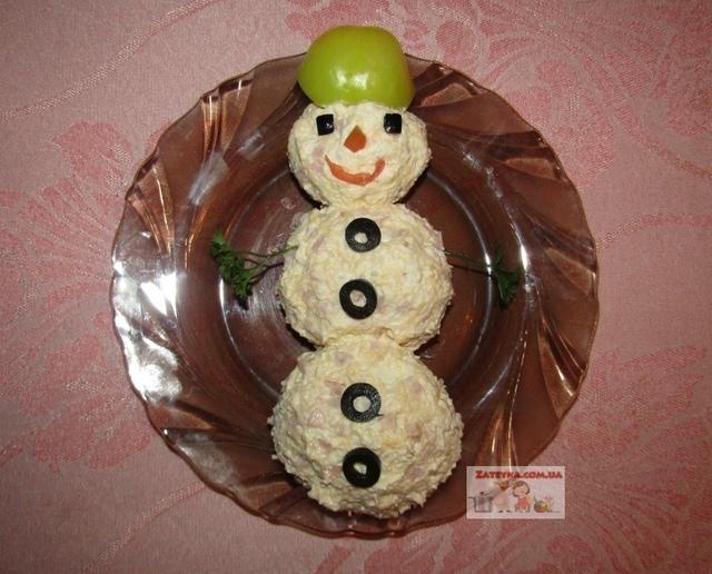 Новогодний салат «снеговик»  – пошаговый рецепт с фотографиями