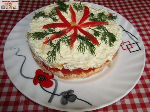 Слоёный салат из лосося и сыра  – пошаговый рецепт с фотографиями