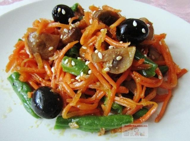 Постный салат с корейской морковью и грибами – пошаговый рецепт с фотографиями
