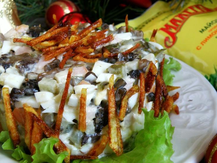 салат с жареными грибами и ветчиной. – пошаговый рецепт с фотографиями