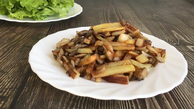 Жареный картофель с вешенками – пошаговый рецепт с фотографиями
