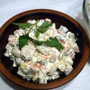 Салат оливье с морским гребешком – пошаговый рецепт с фотографиями