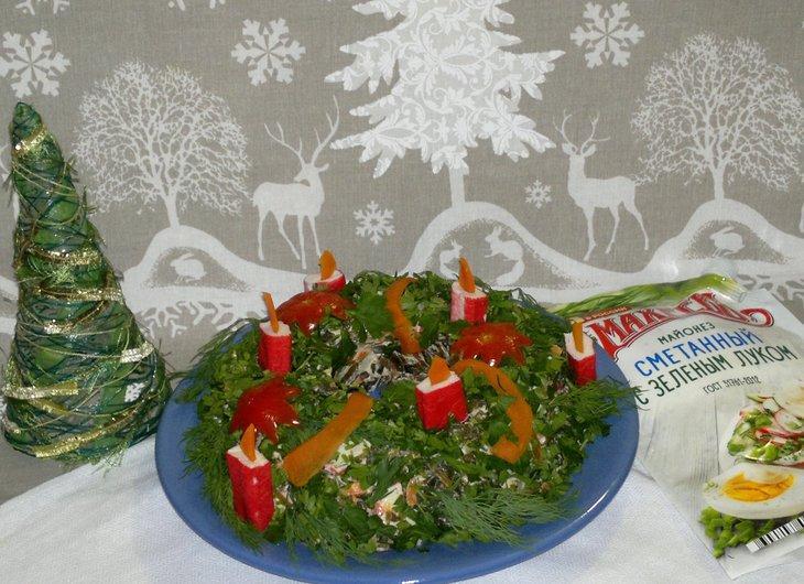 Салат новогодний венок с майонезом махеевъ #махеевъ_чудеса_за_полчаса – пошаговый рецепт с фотографиями