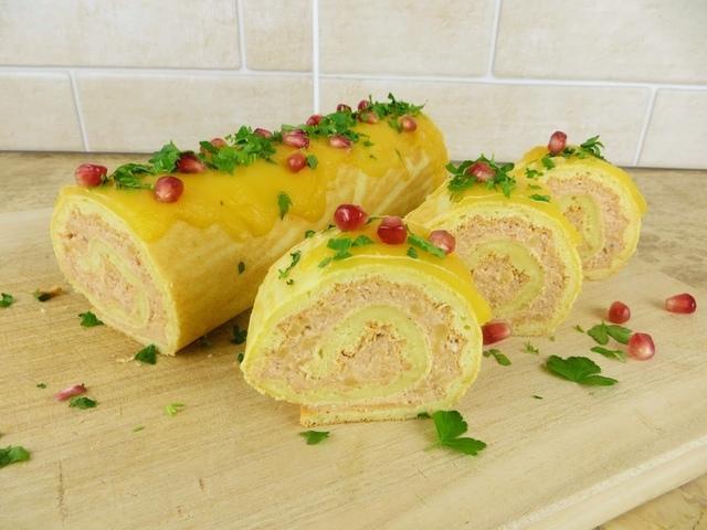 Закуска на праздничный стол - рулет с курицей – пошаговый рецепт с фотографиями