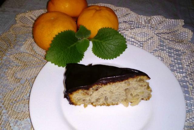 Бананово яблочный пирог с шоколадной глазурью – пошаговый рецепт с фотографиями