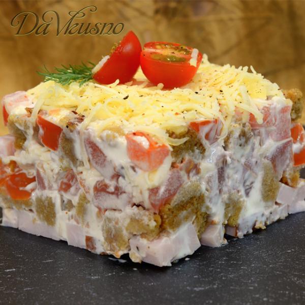 Салат с сухариками и карбонадом – пошаговый рецепт с фотографиями