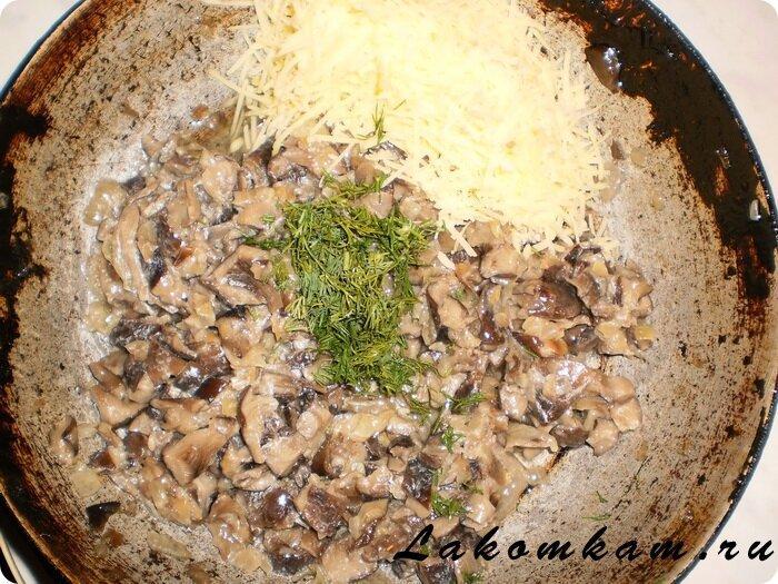 Отбивные фаршированные грибами и сыром