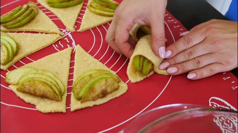 Творожные конвертики с яблоками. Очень вкусно