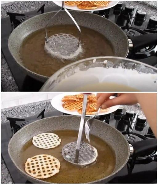 Хрустящие вафли - хворост картофельной толкушкой - легко и просто
