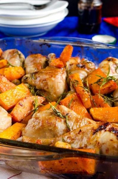 Курица с тыквой запеченая в духовке