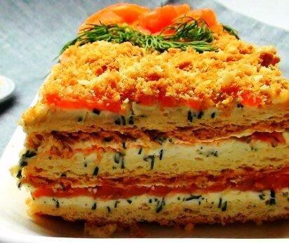 """Торт-закуска """"Наполеон"""" для праздничного стола"""