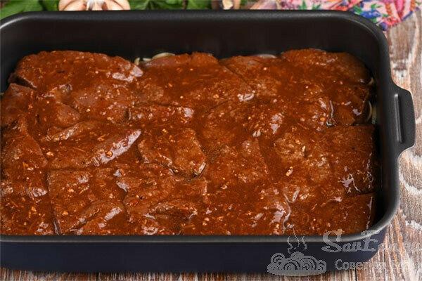 Нежная печень в духовке. Всего 30 минут в маринаде (рецепт с фото)