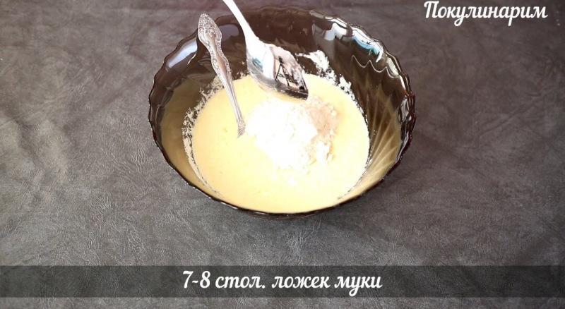 Заливной пирог с капустой и колбасой к чаю