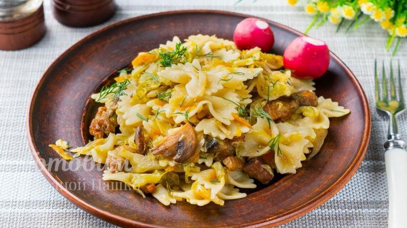 Вкусный ужин с макаронами и капустой