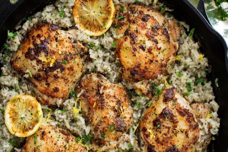 Полноценный ужин (курица+гарнир) без возни и по-гречески