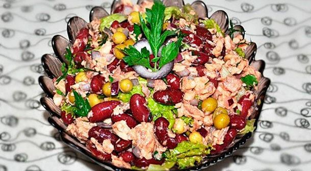 Как приготовить рыбный салат с фасолью