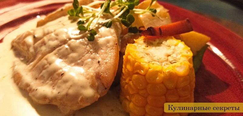Стейк из курицы под сливочным соусом.